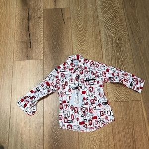 JOHN ART ITALIA/Boy's/Dress Shirt/Red & Black/S3
